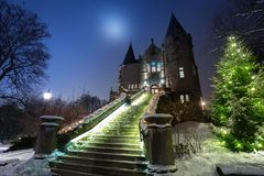Teleborg Castle at snowy night in Vaxjo. Sweden Stock Photography