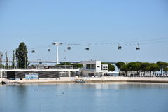 Telecabine里斯本在里斯本,葡萄牙 免版税库存图片