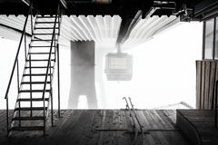 Telecabine en la niebla Foto de archivo