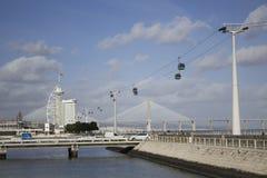 Telecabine en Lisboa, Portugal fotografía de archivo