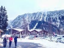 Telecabine Le Tour Col De Balme ski station, Chamonix, France Stock Photos