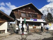 Telecabine Le Tour Col De Balme ski station Stock Images