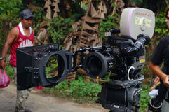 Telecamera. Professional camera on the set of the movie, Malaysia Royalty Free Stock Photography