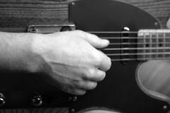 Telecaster guitar. Close up black and white shot Royalty Free Stock Images