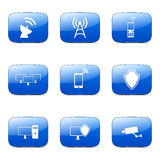 Telecom Communication Square Vector Blue Icon Set Stock Images