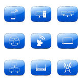 Telecom Communication Square Vector Blue Icon Set 2 Stock Images