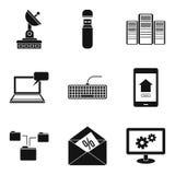 Telecom icons set, simple style. Telecom icons set. Simple set of 9 telecom vector icons for web isolated on white background Stock Image