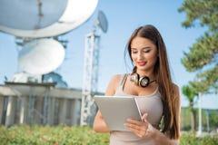 Telecom lady. Stock Images