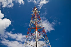 Telecom tower. And blue sky Royalty Free Stock Images