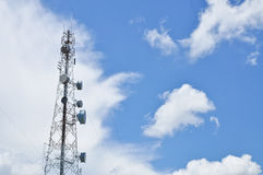Telecom tower. With blue sky Royalty Free Stock Image