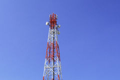 Telecom tower. And clear blue sky Royalty Free Stock Photos