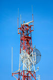 Telecom tower install communication equipment for sent signal to the city, Satellite dish telecom network in the city Stock Image