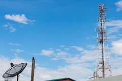 Telecom towers with satellites. Royalty Free Stock Photos