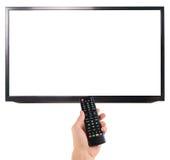 Telecomando maschio della tenuta della mano allo schermo della TV isolato su bianco Fotografie Stock