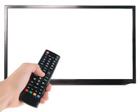 Telecomando maschio della tenuta della mano allo schermo della TV isolato su bianco Fotografia Stock