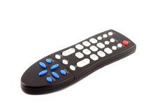 Telecomando nero della TV isolato su bianco Fotografia Stock
