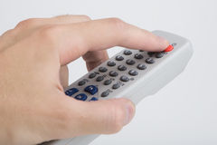Telecomando TV su bianco Fotografia Stock
