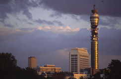 Telecomm Tower. British Telecomm tower in London, UK,  lit by autumn sunset Royalty Free Stock Photos
