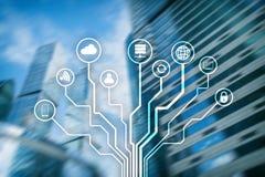 Telecommunicatie en IOT-concept op vage commerciële centrumachtergrond vector illustratie