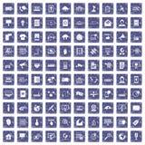 100 telecommunicatiepictogrammen geplaatst grunge saffier Royalty-vrije Stock Foto