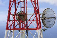 Telecommunication. A closeup of a telecommunication tower Royalty Free Stock Photos