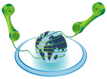 Telecommunication. Illustration of two colored phone receivers which cords are twisted around the world globe Royalty Free Stock Photography