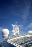 Telecommunication. Glass top and many telecommunication  divorcees on a large cruise ship Royalty Free Stock Photography