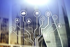 Free Telecommunication And IOT Concept On Blurred Business Center Background Royalty Free Stock Photos - 129994948