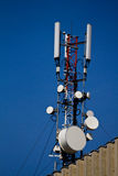 Telecommunication antena. Antena for telecommunication over a building royalty free stock image