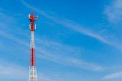 Telecommunication  antenna Tower, Copyspace at the right Stock Photography