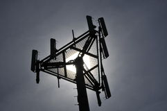 Telecommunication Antennas. Wireless Cellular Telecommunication Antennas on Top of Monopole stock photography