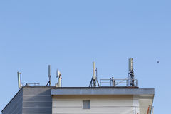 Telecommunication antennas in a building Royalty Free Stock Photography