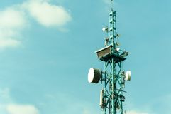 Free Telecommunication Antennas Outdoor On The Tall Metal Pole Construction. Royalty Free Stock Photography - 112705977