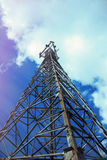 Telecommunication, cell phone tower. Royalty Free Stock Photo