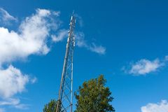 Telecommunication communication antenna tower mast Royalty Free Stock Photography