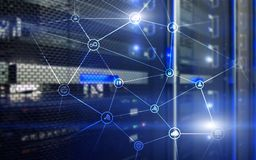 Telecommunication concept with abstract network structure and server room background.  Stock Photos