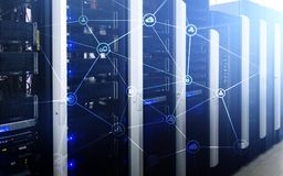 Telecommunication concept with abstract network structure and server room background.  Stock Image