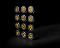 Telecommunication or contact concept. Telephone contact number button in dark background with reflection 3d illustration Royalty Free Stock Image