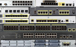 Telecommunication equipment. Ethernet LAN and WAN ports. Front panels of router, switch, hub, firewall, and other telecommunication network equipment Stock Photos