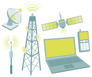 Telecommunication equipment icon set Stock Images