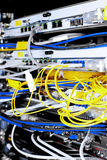 Telecommunication equipment of network cables in a Royalty Free Stock Photography
