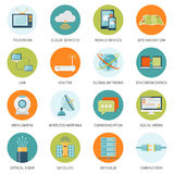 Telecommunication Icons In Colored Circles Stock Photo