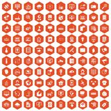 100 telecommunication icons hexagon orange. 100 telecommunication icons set in orange hexagon isolated vector illustration stock illustration