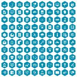 100 telecommunication icons sapphirine violet. 100 telecommunication icons set in sapphirine hexagon isolated vector illustration vector illustration
