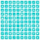 100 telecommunication icons set grunge blue Stock Images