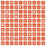 100 telecommunication icons set grunge orange. 100 telecommunication icons set in grunge style orange color isolated on white background vector illustration Royalty Free Illustration