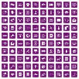 100 telecommunication icons set grunge purple. 100 telecommunication icons set in grunge style purple color isolated on white background vector illustration Royalty Free Stock Photography