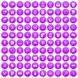 100 telecommunication icons set purple. 100 telecommunication icons set in purple circle isolated vector illustration stock illustration