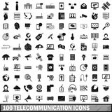 100 telecommunication icons set, simple style Stock Photo