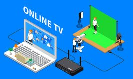 Telecommunication Isometric Composition. With television programme shooting and online streaming 3d vector illustration Royalty Free Stock Images